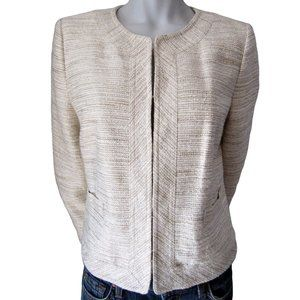 Banana Republic Beige and Ivory Woven Jacket 10